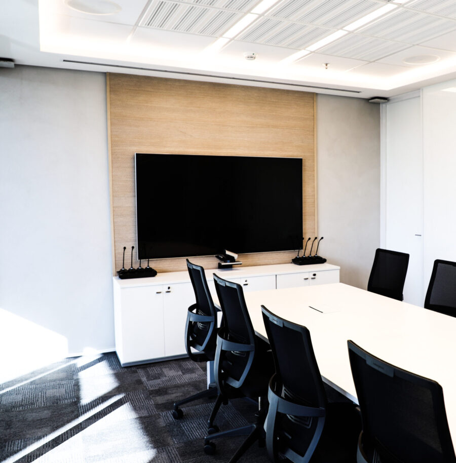 Commercial smart audio and video technology with large projection screen