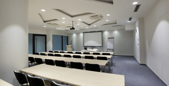 Business large room short throw laser projection and screen with commercial business full room surround sound system