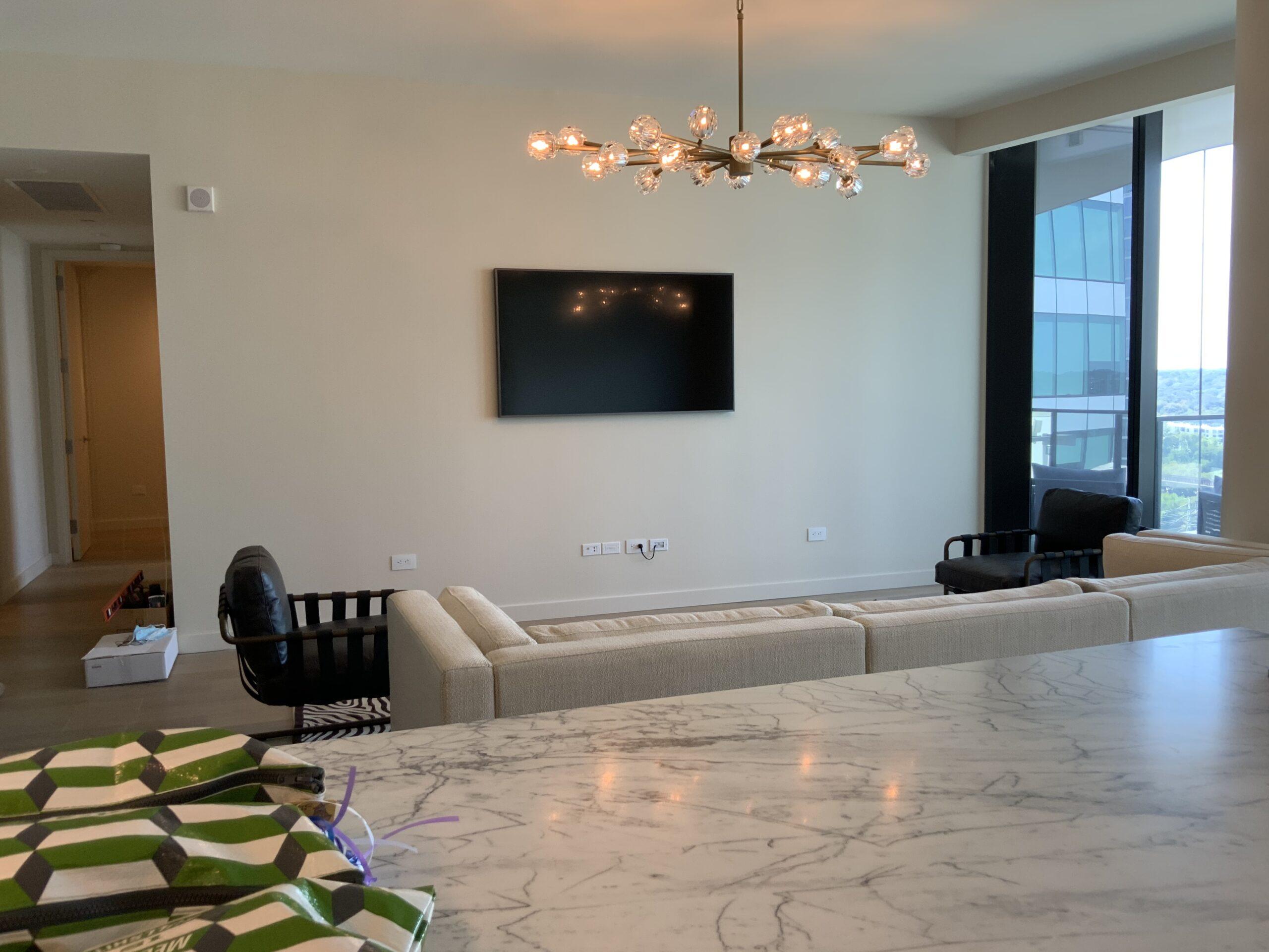 Flat screen mounted TV install