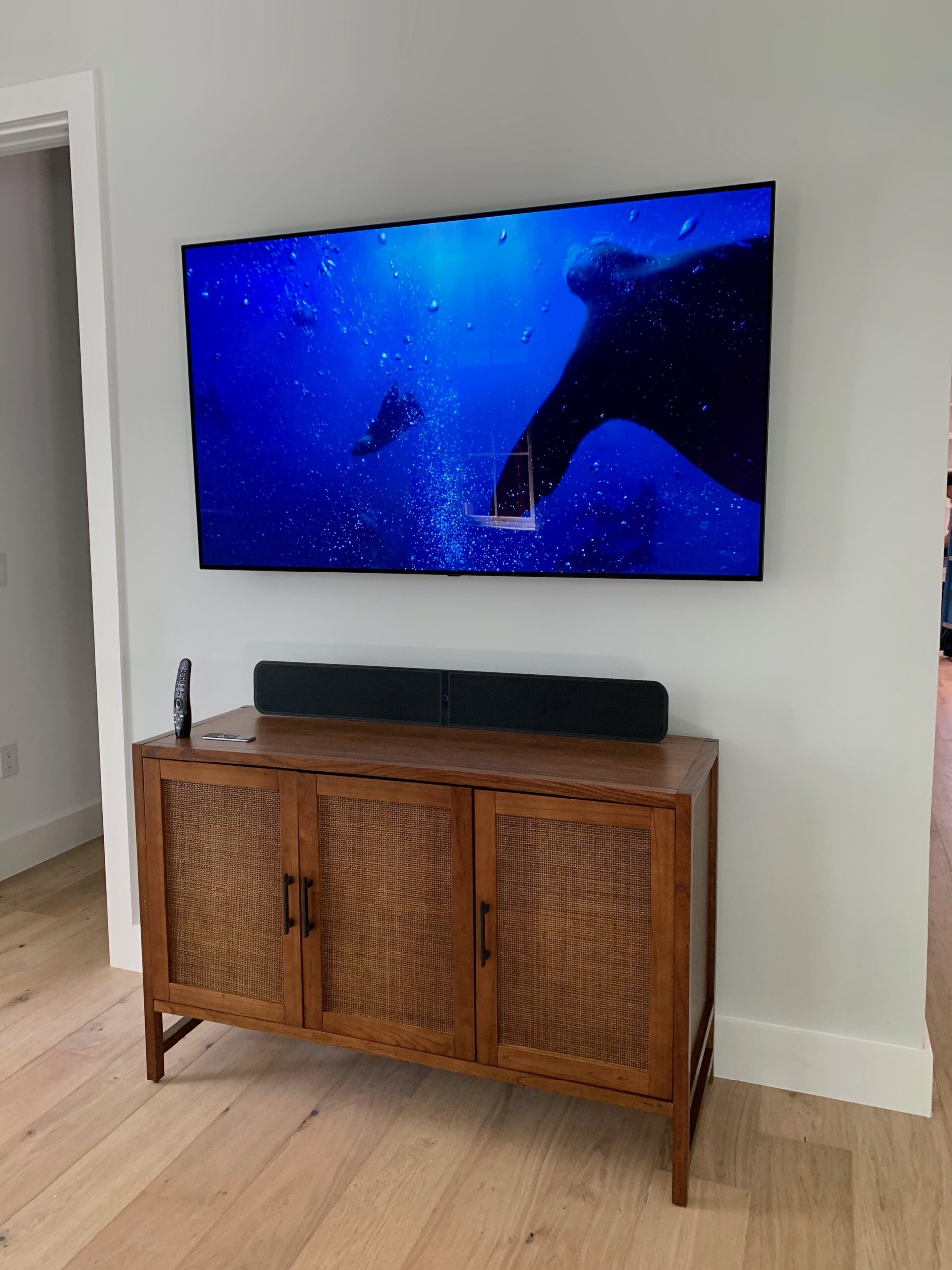 Media room OLED flat screen tv mounted to wall installation