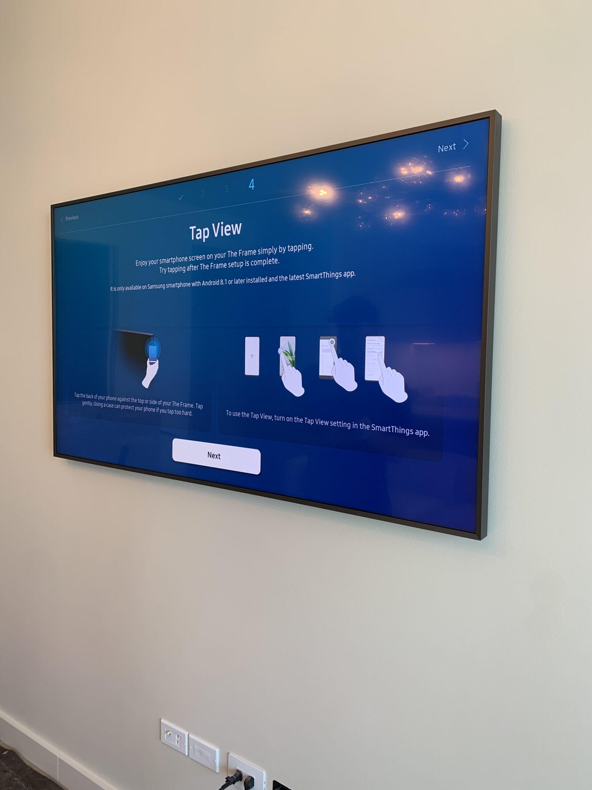 Samsung framed TV installed on wall