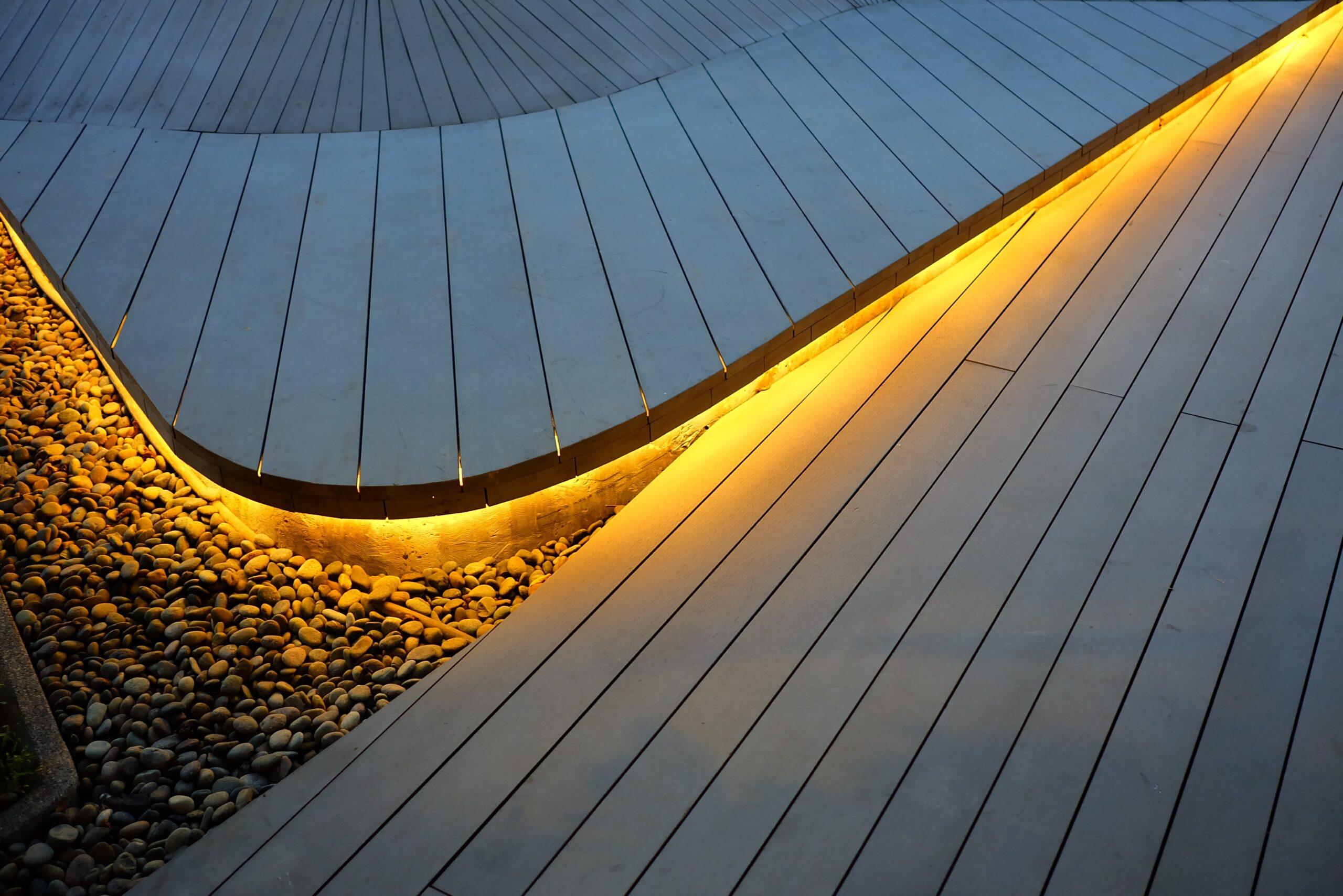 outdoor living backyard integrated with weatherproof smart lighting