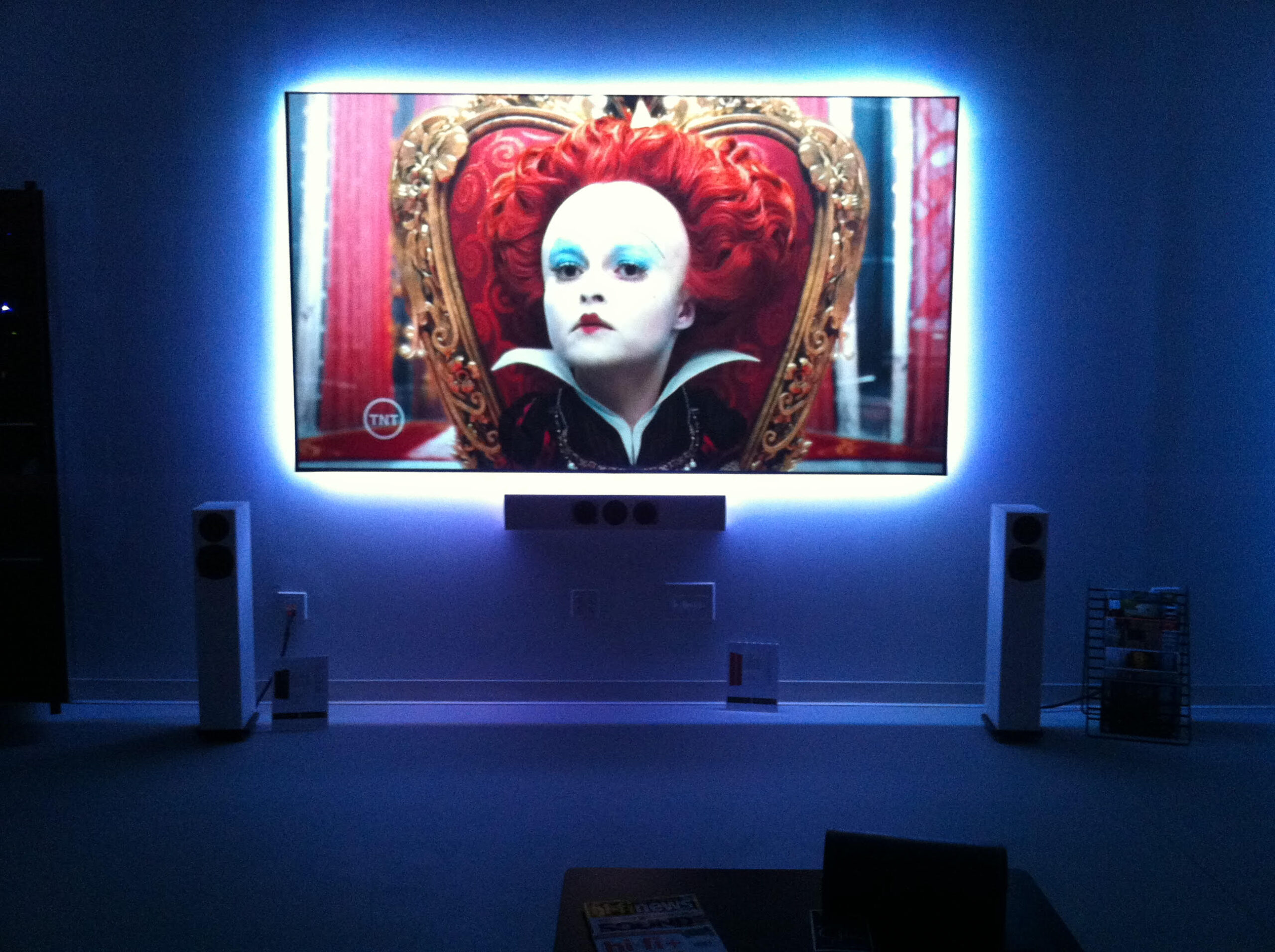Home entertainment large Samsung framed TV and loudspeakers sound system