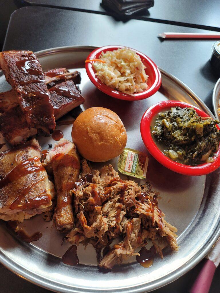 smoked chicken (dark), pulled pork, ribs