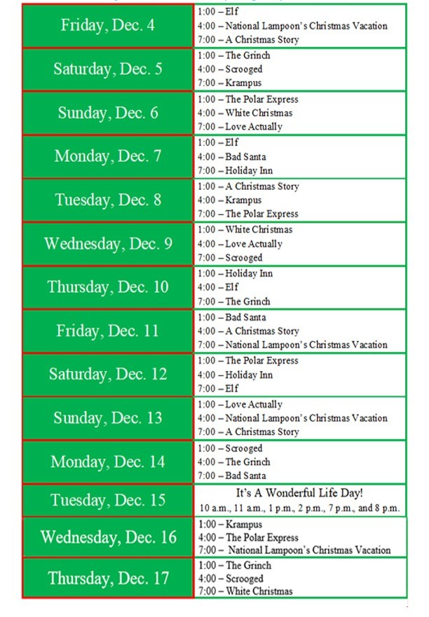 12 Movies of Christmas schedule