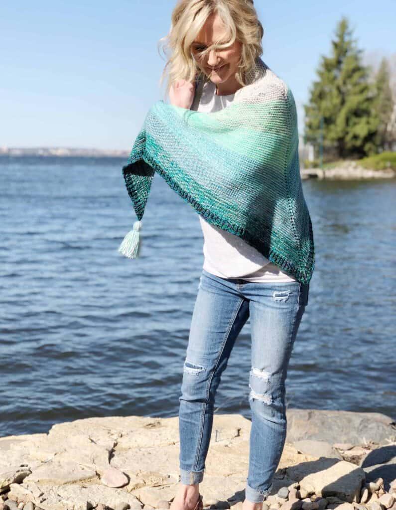 Fingering weight yarn shawl knitting pattern.