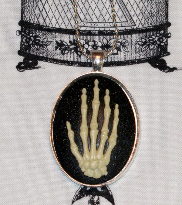SKELETAL HAND NATURAL BONE CAMEO NECKLACE