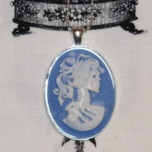 VICTORIAN LADY SKELETON CAMEO NECKLACE - WHITE/BLUE
