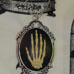 VICTORIAN SKELETAL HAND NATURAL BONE CAMEO NECKLACE