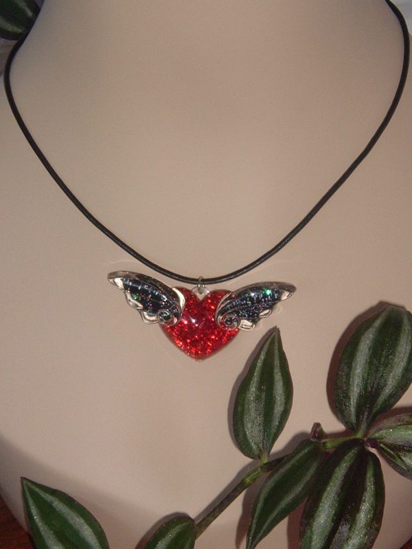 HUGE WINGED HEART NECKLACE