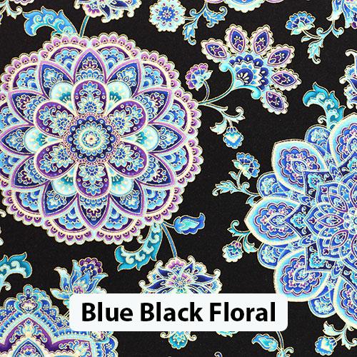 Blue Black Floral