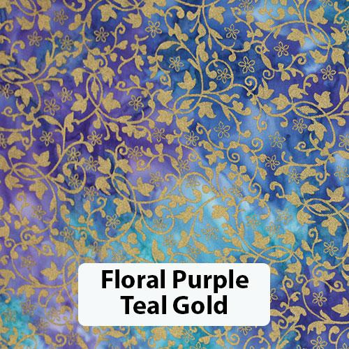 Floral Purple Teal Gold