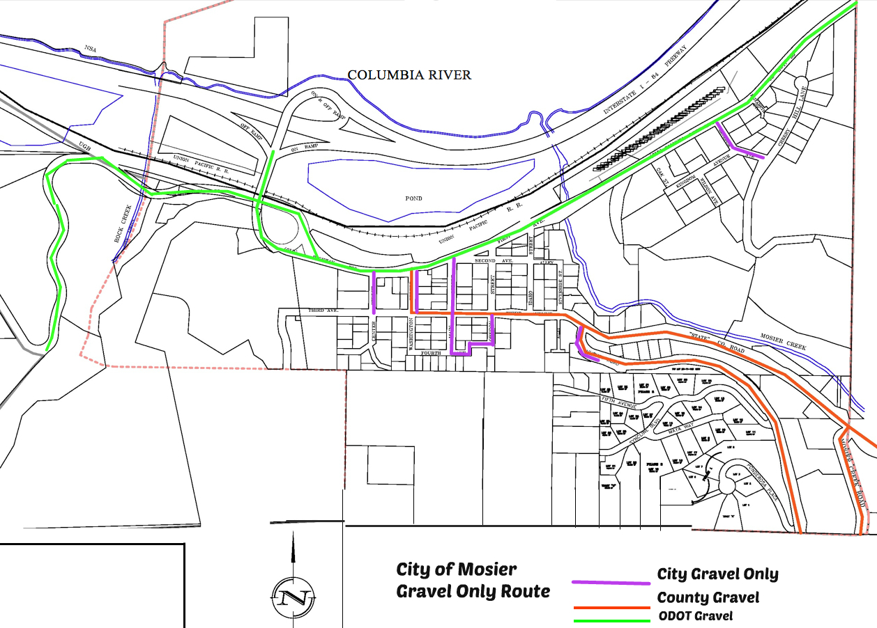 Mosier Snow Gravel Only Route Map