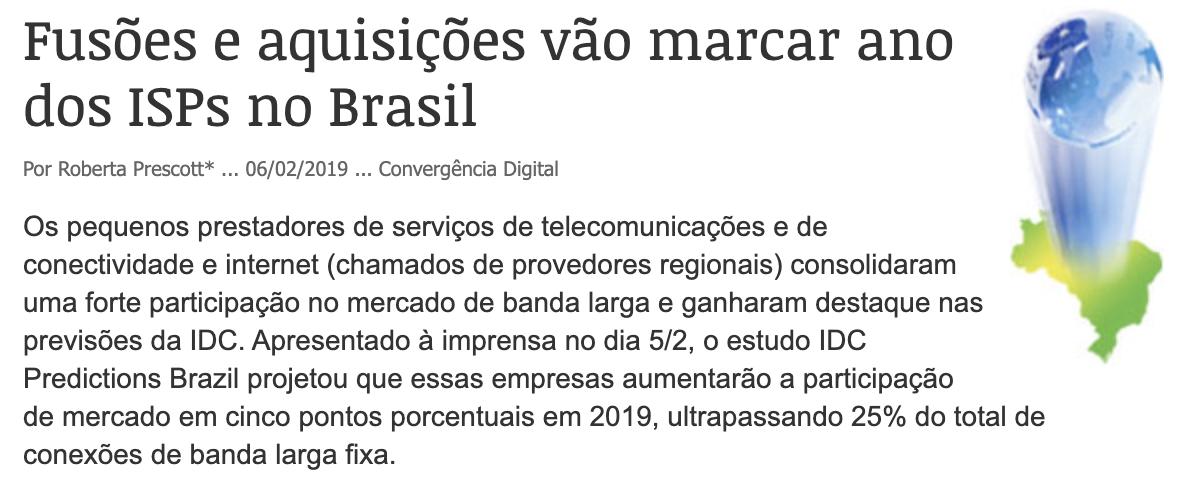 Fusões e aquisições vão marcar ano dos ISPs no Brasil – CONVERGÊNCIA DIGITAL