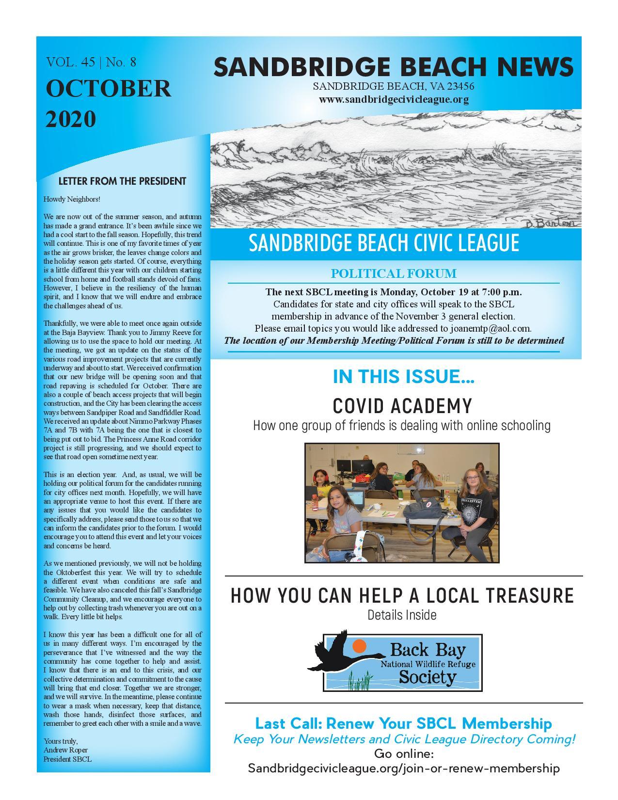 SBCL Newsletter Oct 2020