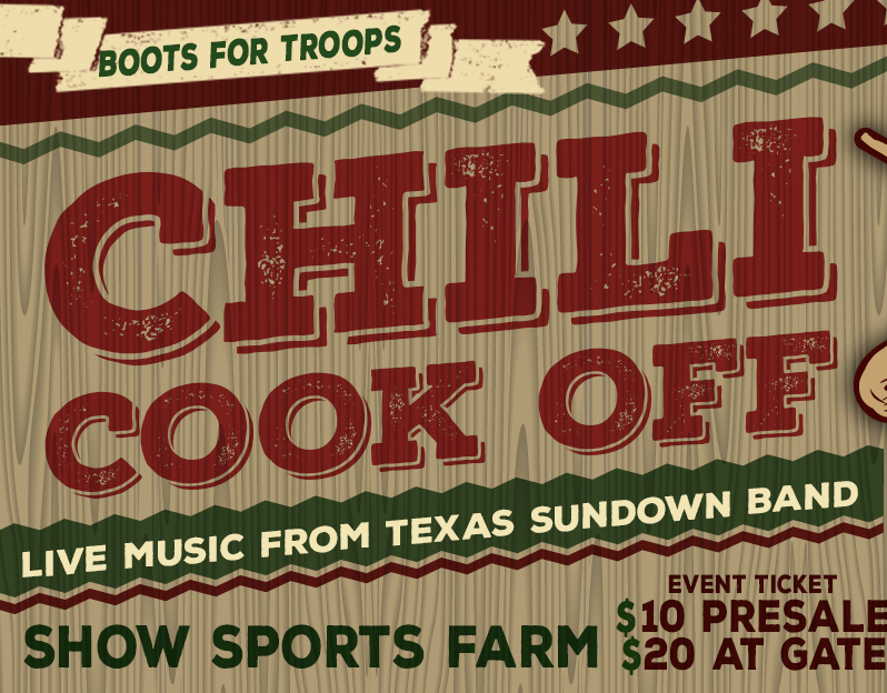 BOOTS FOR TROOPS CHILI COOK OFF JAN. 30th