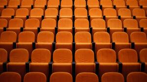 Rows of orange seats