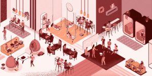 Drawn art of an office in various shades of pink, red, and neutrals.
