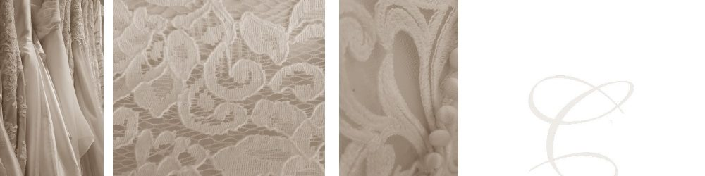 4 parts, dresses on rack, lace and close up of cotton lace