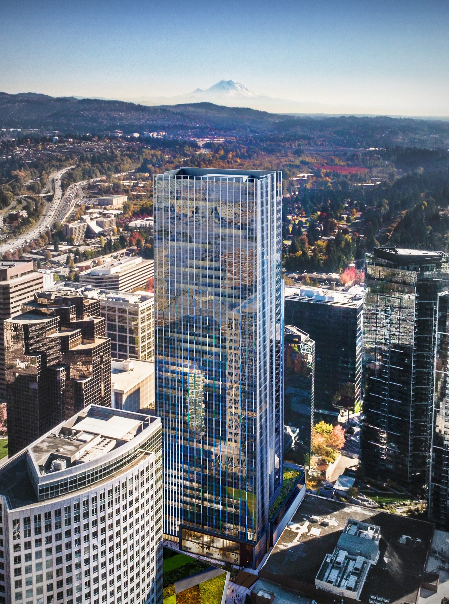 Office Tower occupied by Amazon in downtown Bellevue