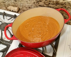 butternut squash soup heating on stove