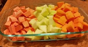 chopped sweet potatoes apple butternut squash roasted
