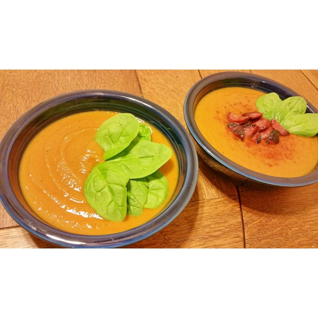 soup garnished ready to serve butternutsquash