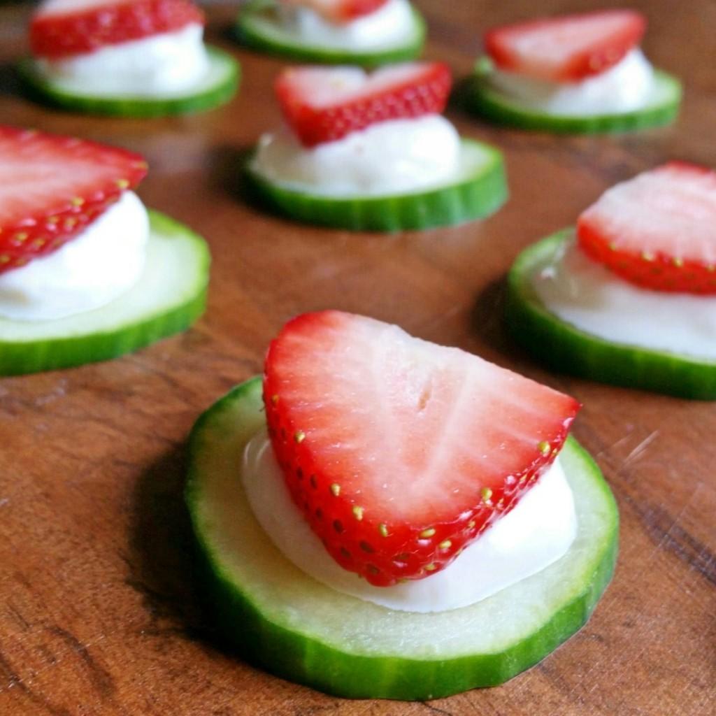 Strawberry + Fig Yogurt + Cucumber Bites - Clovers & Kale