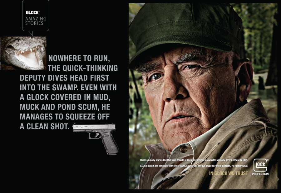 This print ad is just one example of Glock's integrated advertising campaign.