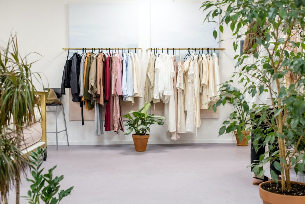 clothes on the racks