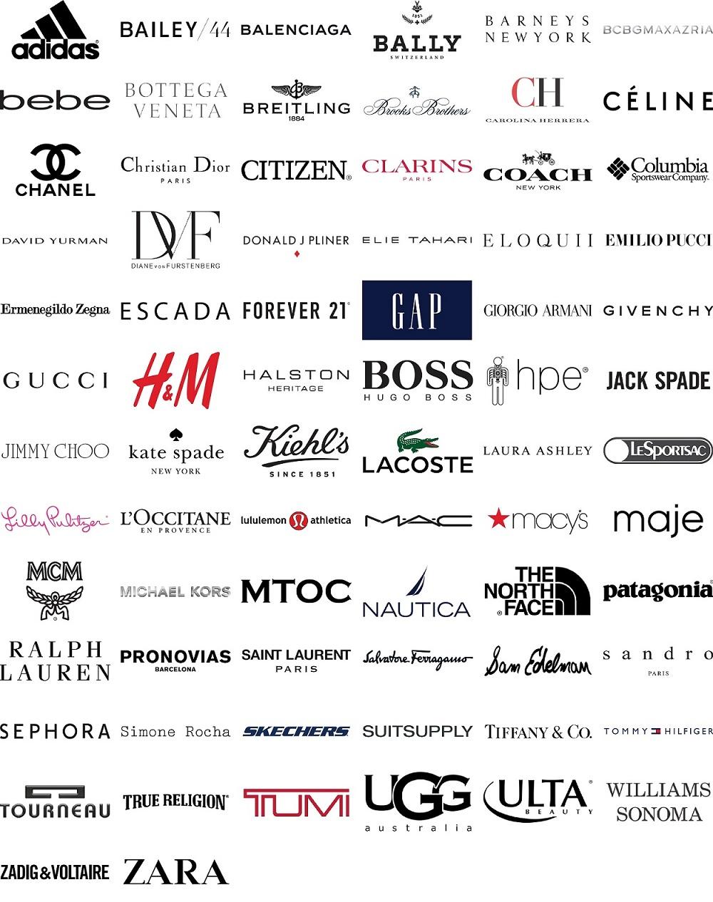 Adidas, Bailey 44, Balenciaga, Barneys New York, BCBG, Breitling, Brooks Brothers, Celine, Columbia, Chandel, Citizen, Clarins, Eloquii, Forever 21, GAP, kate spade, H&M, lacoste, macy's, mac, mcm, ralph lauran, saint laurent, sandro, sephora, tiffany & co, true religion, tumi, ugg, ulta, zadig & voltaire, zara