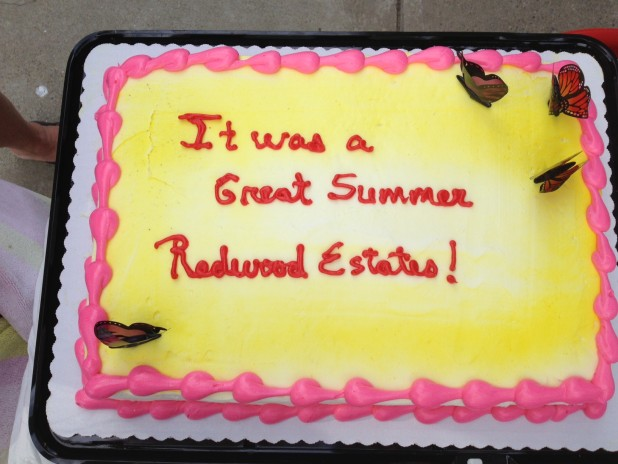 Celebration cake at Redwood Estates Pool Party