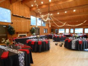 Pavilion at Redwood Estates wedding setup inside