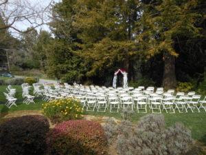 Pavilion at Redwood Estates wedding setup outside