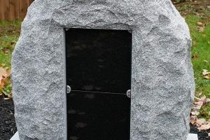 barre gray - 2 niche columbarium - boulder style - grave stone