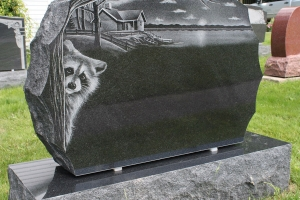 black - etching - animal nature - gravestone
