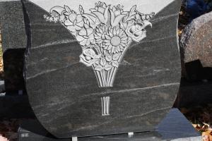 black mist - floral bouquet - special shape - gravestone