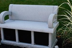 cremation bench - barre gray - black doors - 3 niche - grave stone