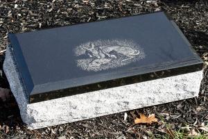 black cap - etching - bevel - deer - grave stone