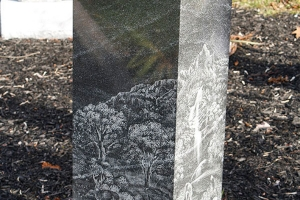 cremation - pillar style - etchings - grave stone