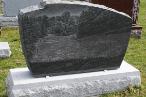 black - etching - salmon fishing - grave stone