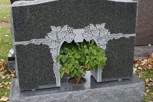 midnight black - center vase cut out - unique - grave stone