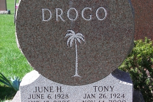 Custom shaped Drogo monument.JPG