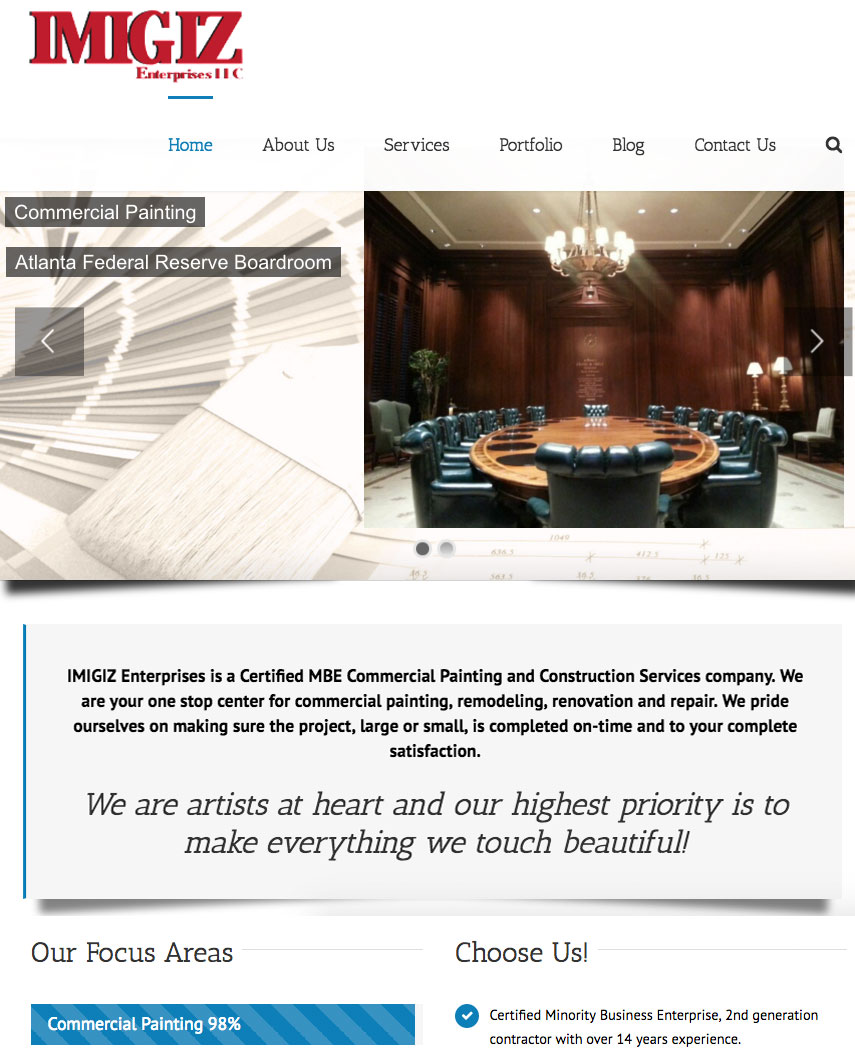 IMIGIZ Enterprises website sample work