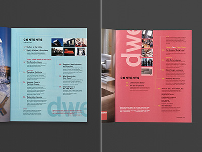 Dwell Magazine, Table of Contents