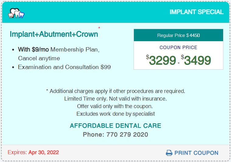 Affordable Dental Access, Implant Special Coupon, Lilburn, GA 30047