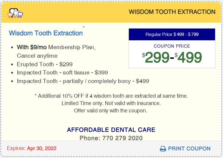 Affordable Dental Access, Wistom tooth Surgical Extraction Coupon, Lilburn, GA 30047