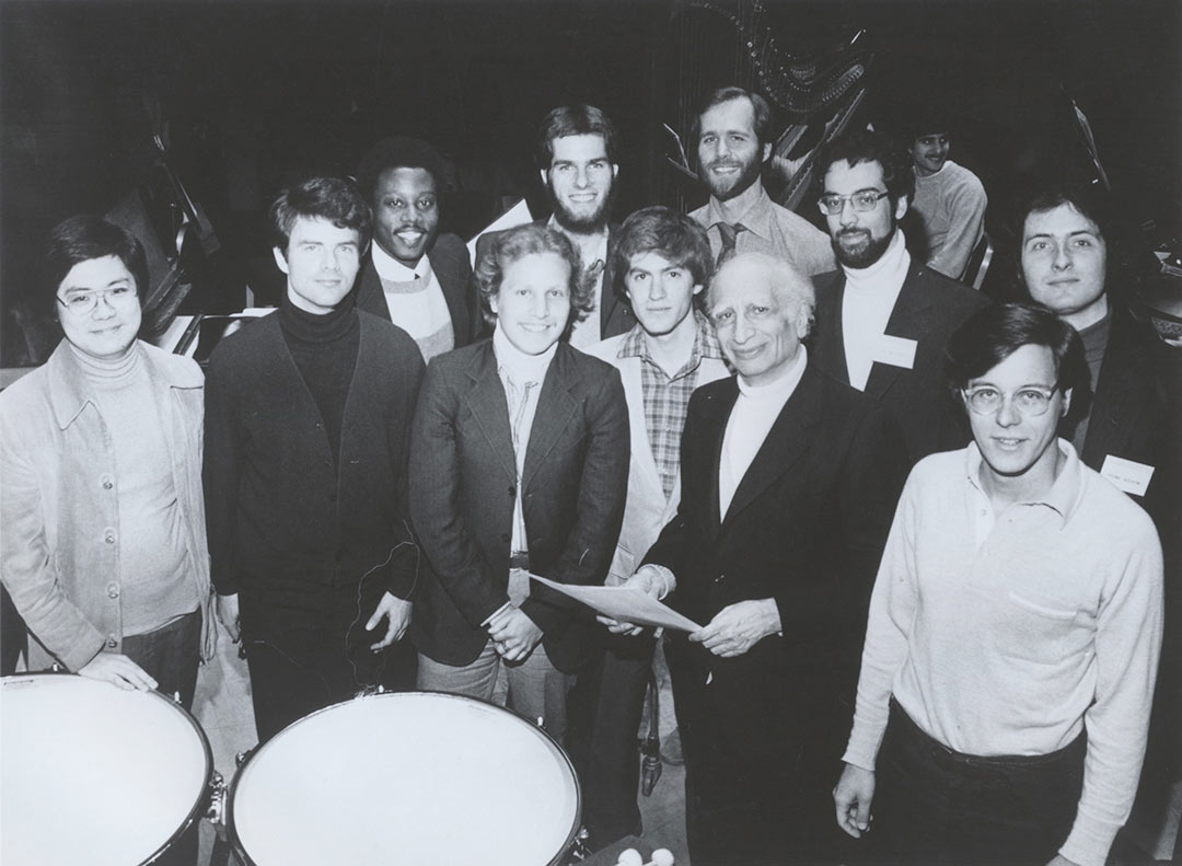 Diemecke with Max Rudolf and other students of a Master Class of Conducting, Ca. 1979