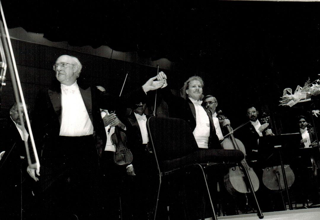 Mstislav Rostropovich and Maestro Diemecke, National Symphony Orch. of México, Palacio de Bellas Artes Theatre, 1993