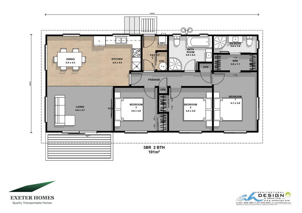 3 bedroom 2 bathroom 101m2 home